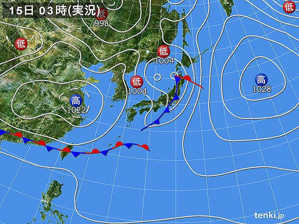 15日 北は雨や雷雨 東と西は日差し暖か