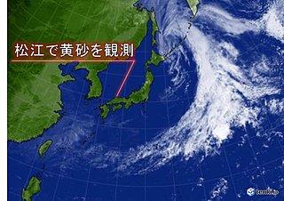 16日 松江で黄砂を観測