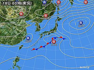 18日 関東や東北は冷たい雨