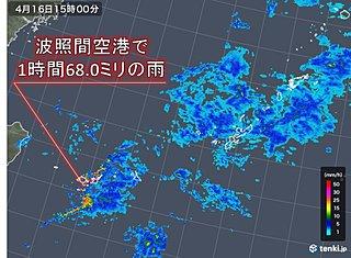 沖縄 波照間空港で1時間に68ミリの非常に激しい雨