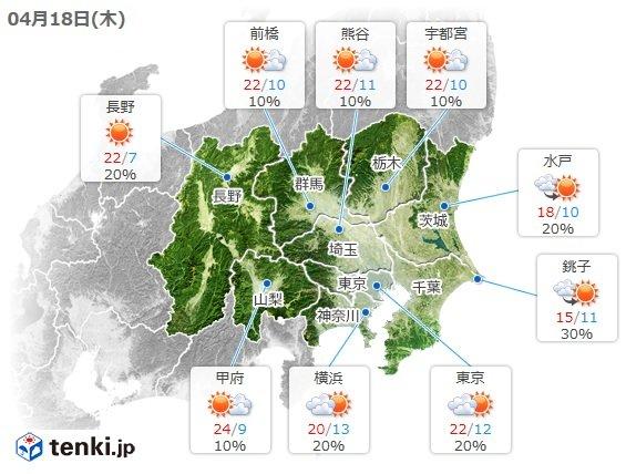 関東 18日の天気 雲は少なくポカポカ陽気