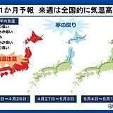 平成から令和へ 10連休の天気傾向も 1か月予報
