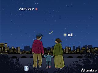 きょう夕空に注目 金星と細い月の共演