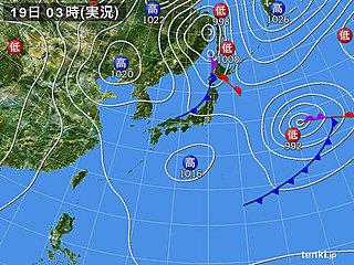 19日 日本海側はヒンヤリ 太平洋側も夜は北風強め