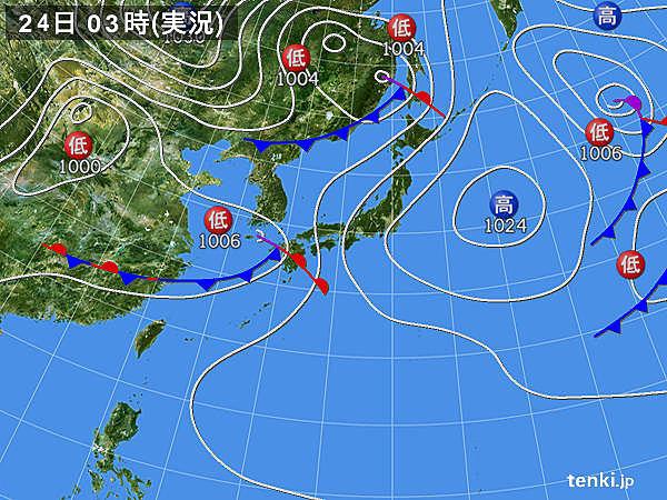 24日 夜にかけて広く雨 雷雨や激しい雨も