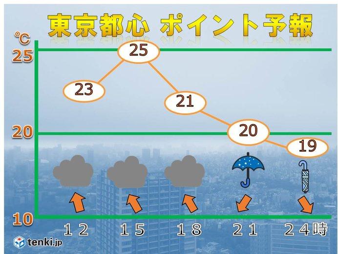 東京都心 空模様の変化と蒸し暑さに注意
