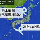 北風20メートル以上 日本海側と沖縄 気温上がらず