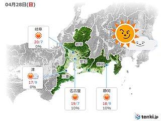 大型連休2日目 28日の東海地方の天気は?