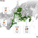 東海 4日は夏日の所多い