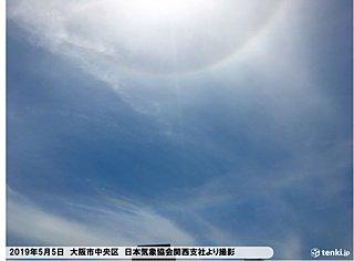 大阪 太陽の周りに大気光学現象