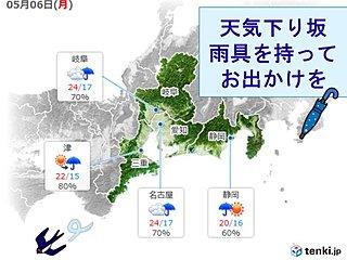 東海 6日午後は雨の所が多い