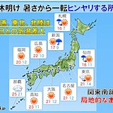 7日は広く晴れ 暑さ一転ヒンヤリも 関東は不安定