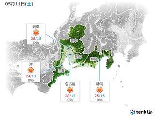 東海 11日は乾燥した晴天続く