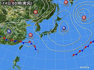14日 沖縄は強い雨・落雷・突風 関東も激しい雨