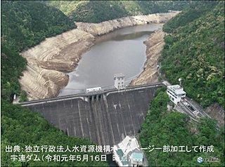 宇連ダム貯水率ゼロに 週明け一転 大雨警戒