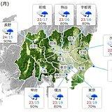 20日の関東 夕方から広く雨 次第に本降りに