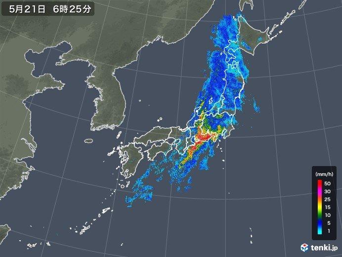 東海で1時間に40ミリ以上の雨を観測