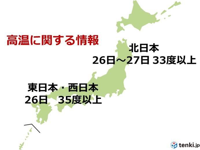 北日本~西日本 高温に関する情報 35度以上予想も