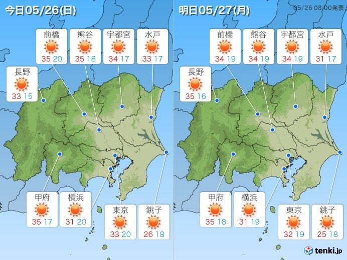 暑い関東26日 内陸は猛暑日も 熱...