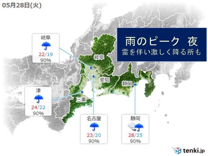 東海 28日は断続的に雨