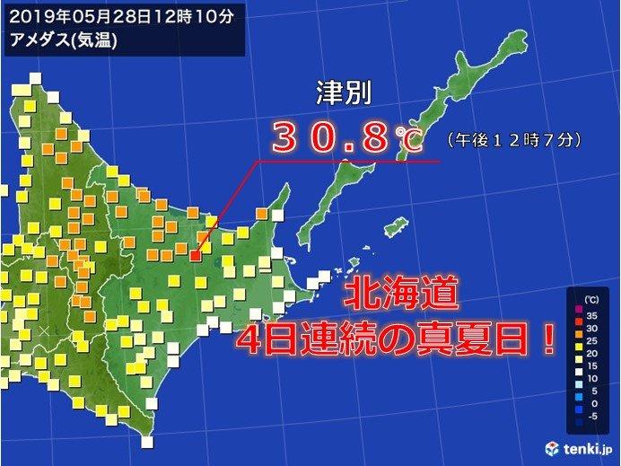 北海道オホーツク海側 厳しい暑さ続く