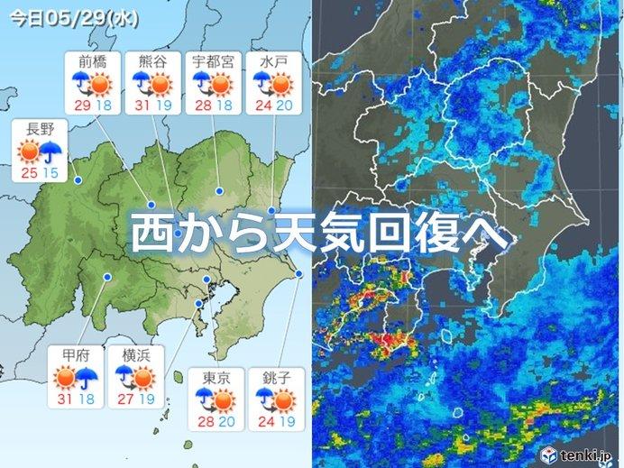 関東29日 天気回復 乾いた暑さに