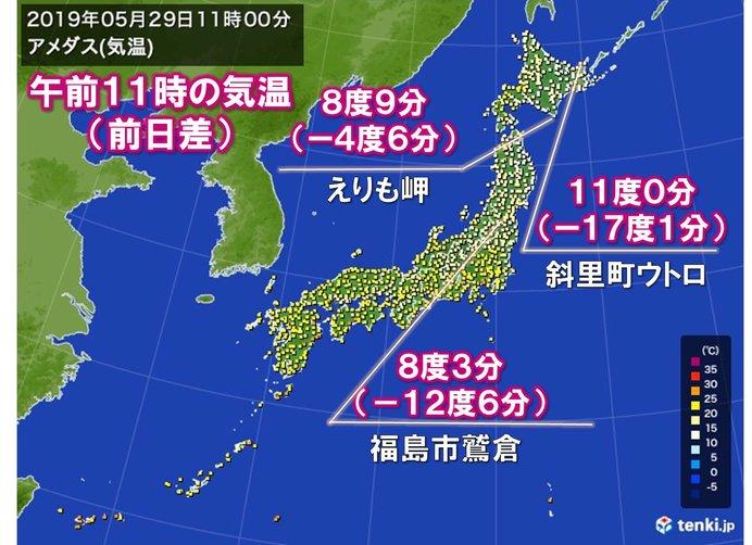 暑さ一転、暖房が欲しいくらいの所も 北日本