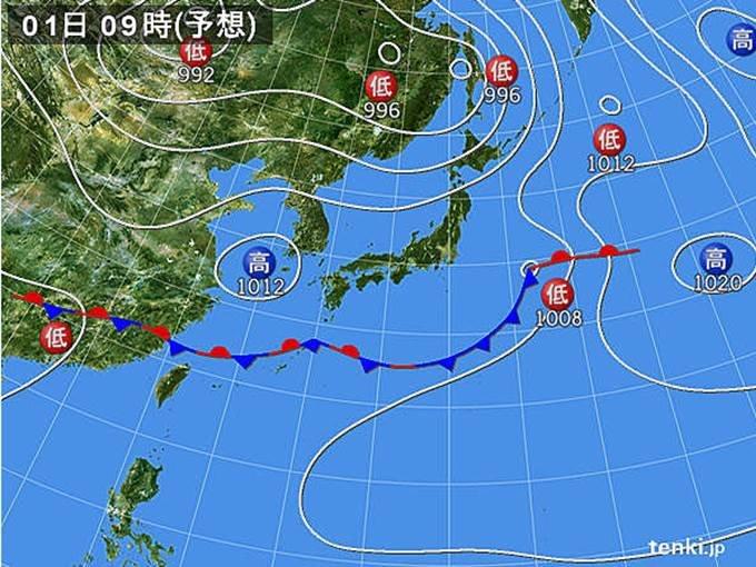 土曜 広く晴れ 南と北は傘を