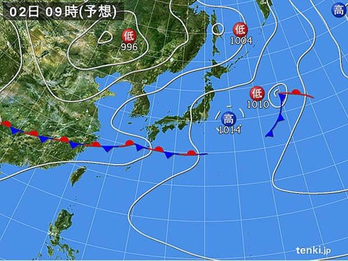 日曜 西日本中心に曇りや雨