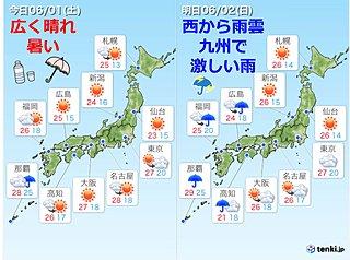 週末の天気 1日は広く晴れ 2日は西から雨に