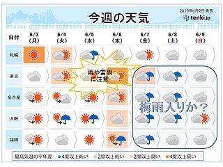 今週天気 風薫る季節から雨の季節へ