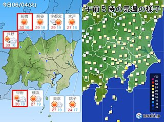 4日 関東 内陸は真夏日も 湿度60パーセント以上