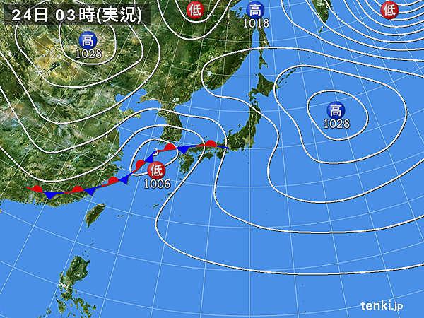24日 広く雨 非常に激しく降る所も