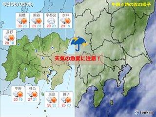 5日関東 晴れていても油断禁物 天気の急変に注意