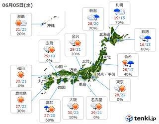 5日 大気の状態不安定 降ると激しい雨に 暑さ継続