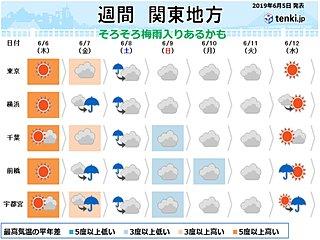 関東の週間 金曜日からグズグズ 気になる梅雨入りは