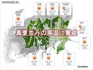 関東6日 真夏の暑さ 熱中症に警戒を