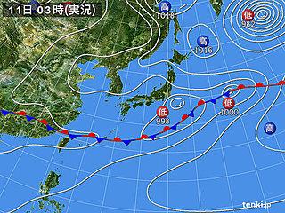 11日 沖縄は大雨の恐れ 本州でも午後は激しい雨