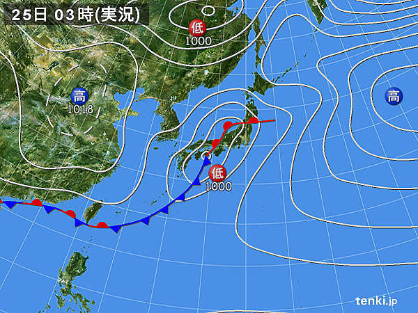 25日 東日本の太平洋側 大雨のおそれ