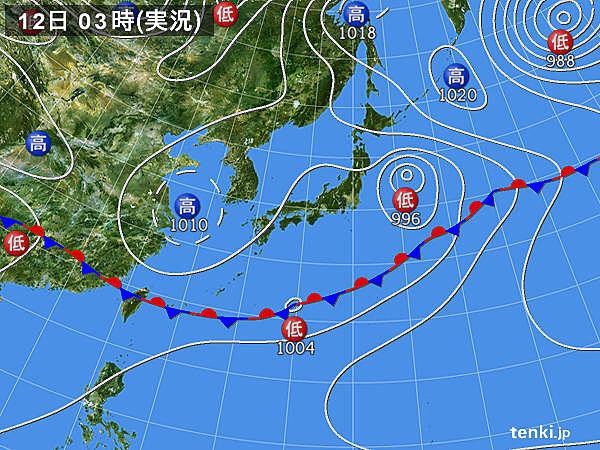 12日 東海や甲信 午後は局地的に激しい雨