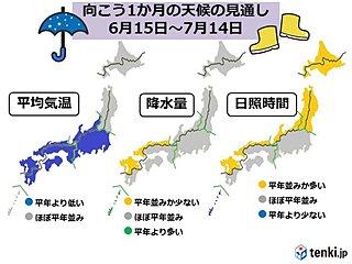 7月に入ると梅雨前線は本州付近に 1か月予報