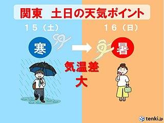 土曜は横なぐりの雨で寒い 日曜は一転30度超 関東