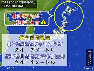 今朝 北海道では風強く 体感温度が氷点下の所も
