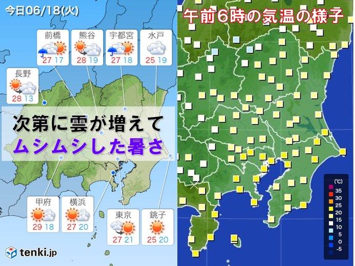 18日 関東 梅雨らしく ムシムシした暑さに