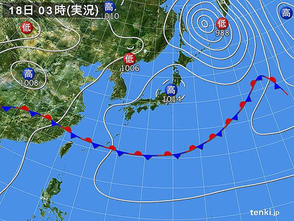 18日 強い日差し 湿度は高め 沖縄では激しい雨