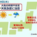 あす 関東以北を中心に不安定 急な雨や雷雨に注意