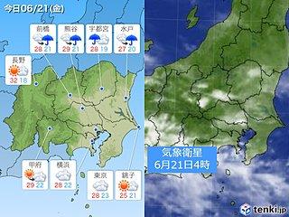 21日関東 蒸し暑さが続く 急な雨や雷雨の所も