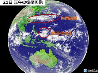 梅雨前線の雲 その南に「台風」のたまご