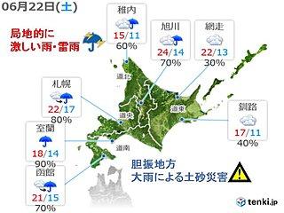 北海道 22日は激しい雷雨や大雨も