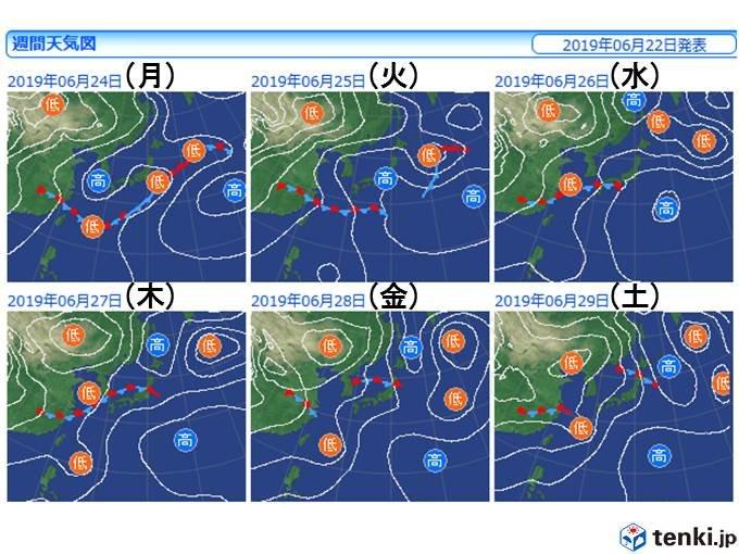 水曜から梅雨前線が北上、活発化
